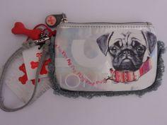 New Fuzzy Nation Silver Wristlet Screenprint Pug Mini Tote Cell NWT $29 #FuzzyNation #Wristlet