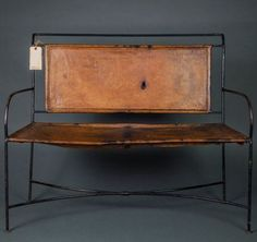 Leather and Cast Iron Bench