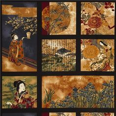 with geishas, flowers, bamboo, old Japanese poems & golden embellishments Japanese Poem, Japanese Geisha, Modes4u, Panel Quilts, Robert Kaufman, Digital Papers, Dark Colors, Fabric Patterns, Art Images