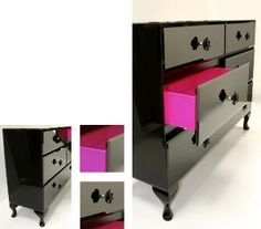 Black Rose-With its high gloss finish and vibrant pink flocked drawers