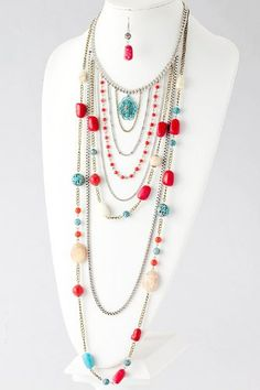 BAUBLES & CO LAYERED STONE PLUNGE NECKLACE (Turquoise) Baubles & Co