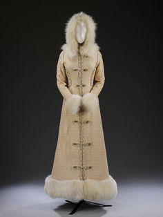 Wedding coat-dress, Britain, UK, 1968, Bellville Sassoon, Silk and fur I can't stop staring at this gorgeous coat!