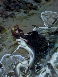 Even Nobles must be cautious when sporting with the Spirits of the world. One Undine is no trouble, but they school...Donato Giancola - The Golden Rose