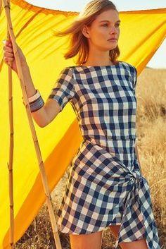 Atelier Delphine Dropwaist Gingham Dress