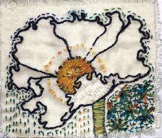 matilija poppy by janelafazio, embroidery Free Machine Embroidery, Crewel Embroidery, Cross Stitch Embroidery, Embroidery Patterns, Knitting Machine, Cross Stitches, Stitch Patterns, Contemporary Embroidery, Contemporary Art