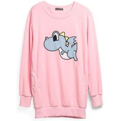 Pink Cartoon Animals Patch Embroidered Sweatshirt ($41) ❤ liked on Polyvore featuring tops, hoodies, sweatshirts, sweaters, shirts, cartoon sweatshirts, pink sweatshirts, pink top, embroidery top and comic shirts