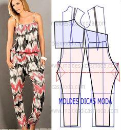 Veja a publicação completa no site para ver mais. Sewing Pants, Sewing Clothes, Diy Clothes, Jumpsuit Pattern, Pants Pattern, Dress Sewing Patterns, Clothing Patterns, Fashion Sewing, Diy Fashion