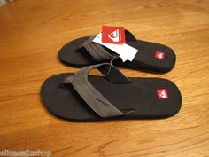 Men's Quiksilver flip flops thongs sandals 9 cush cushion monkey wrench black  1