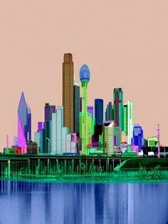 Colorized B&W photo of Downtown Dallas, Texas.