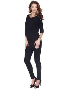 Black Jersey Popper Nursing Top