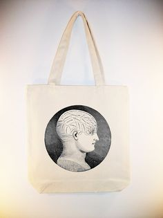 Vintage Phrenology illustration on 15x15 Canvas Tote by Whimsybags, $12.00