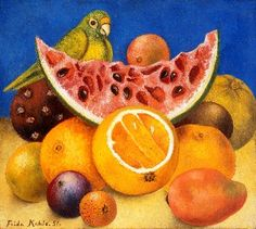 Still Life with Parrot and Fruit, Naturaleza Muerta con Loro y Fruta, Frida Kahlo, C0610