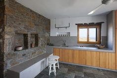 cement paint, stone, wood, light, bench, summer house, cyclades  Polisgram architects   #refurbishment #interiors