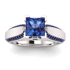 Princess & Rd Blue Sapphire White Gold Finish Solitaire W/Accent Engagement Ring #SolitairewithAccents