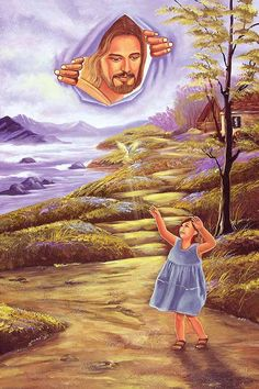 Jesus looking down from heaven to have a conversation with you. Pictures Of Christ, Church Pictures, Bible Pictures, Christus Pantokrator, Jesus Reyes, Meaningful Paintings, Image Jesus, Christian Artwork, Lds Art