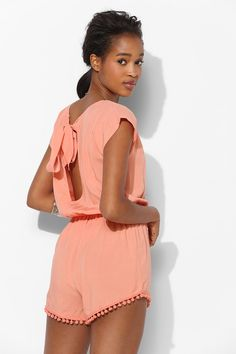 Staring At Stars Tie-Back Pompom Romper - Urban Outfitters