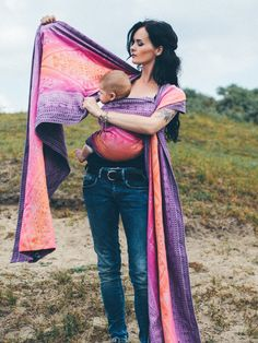 Teo Cattleya baby wrap made in Scotland  by Oscha Slings from organic combed cotton, pure bamboo and cotton.