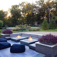 Contemporary Patio. My favorite colors. Probably only need the one fire pit though - NF