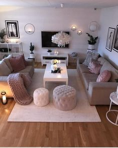 cozy living room decor ideas you will need to copy 9 Sitting Room Decor, Living Room Decor Cozy, Home Living Room, Interior Design Living Room, Living Room Designs, Cosy Grey Living Room, Blush And Grey Living Room, Bedroom Decor, Room Colors