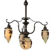 Extremely Rare Empire 4-Light Chandelier w/Straw Opalescent Glass, c1898