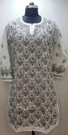 Lucknow Chikan Online Kurti White cotton with very fine chikankari murri, shadow & kangan work with designer neckline $30.5