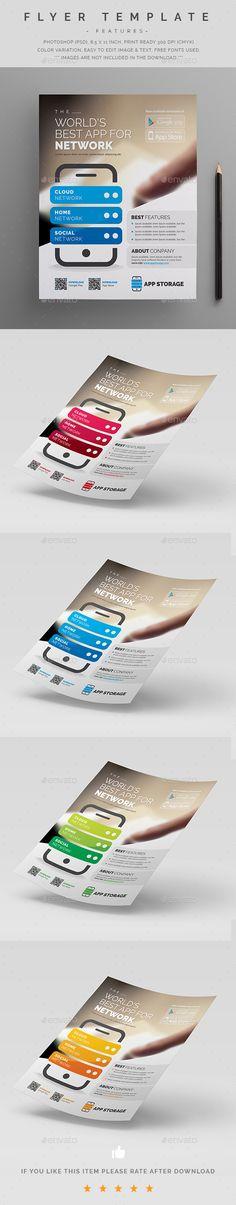 Mobile App Promotion Flyer  — PSD Template #8.5x11 #studio • Download ➝ https://graphicriver.net/item/mobile-app-promotion-flyer/18316768?ref=pxcr