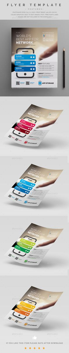 Mobile App Promotion Flyer  — PSD Template #8.5x11 #studio • Download ➝ https://graphicriver.net/item/mobile-app-promotion-flyer/18316768?ref=pxcr
