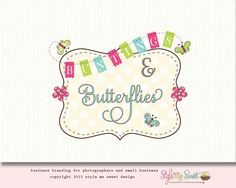 Premade Bunting Logo Butterfly Logo Party Logo Design Photography Logo Design OOAK Hand Drawn Never Resold
