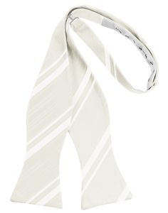 Ivory Striped Satin Self-Tie Formal Bow Tie Ivory Color Formal Bow Tie High Quality Premier Luxury Satin with Elegant Striped Pattern Self-Tie and Adjustable For Easy Sizing Fits up to a 18 Neck Double Dimple Styling Matching Cummerbund and Pocket Hanky Available