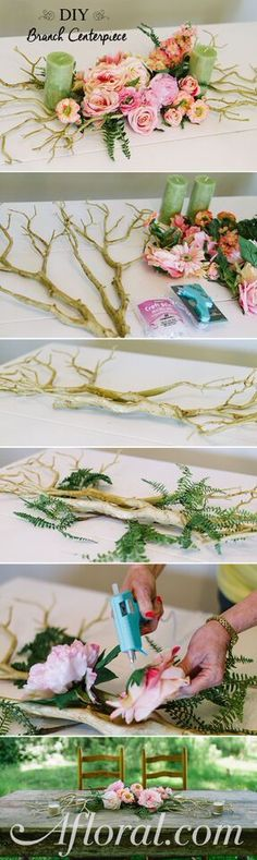 This gorgeous DIY Branch Centerpiece will make the perfect addition to your wedding, event or home table.  Use silk flowers and manzanita branches for a DIY centerpiece that will last.  Find everything at Afloral.com.