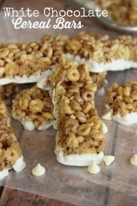 White Chocolate Cereal Bars -filled with cinnamon, pecans, almonds, granola clusters, and Protein Cheerios all dunked in white chocolate-Diary of a Recipe Collector