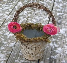 Woodland Rustic Flower Girl Basket Personalized (CHOOSE YOUR FLOWER) by BriannaPaigeDesigns