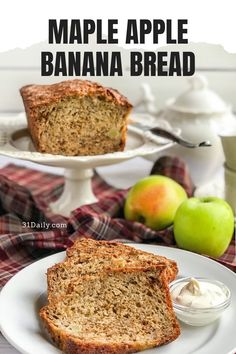 A fusion of fall's favorite flavors… in a quick bread. Maple Apple Banana Bread is an autumn treat filled with the warming and subtle spices of maple, cinnamon, vanilla, and cloves. And it's incredibly delicious. Apple Banana Bread, Afternoon Tea Recipes, Tea Sandwiches, Fall Treats, Quick Bread, Fall Recipes, Baking Recipes, Healthy Snacks, Breakfast Recipes