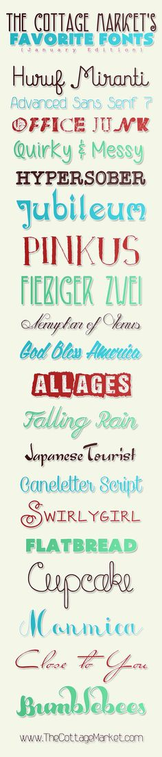 Free Fonts that are tons of fun..fresh and fabulous