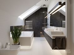 Project Home Home Sloped Ceiling Bathroom, Small Attic Bathroom, Loft Bathroom, Upstairs Bathrooms, Laundry In Bathroom, Dream Home Design, House Design, Loft Room, Minimalist Room