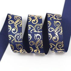 Midi Ribbon Gold Swirl Print Ribbon 7/8' 50 Yds/Roll Navy Color For Hair Bows Hair Clip Making DIY Crafts -- Find out more about the great product at the image link.