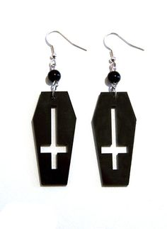 Black Acrylic Coffin + Inverted Cross Gothic Earrings by Pornoromantic