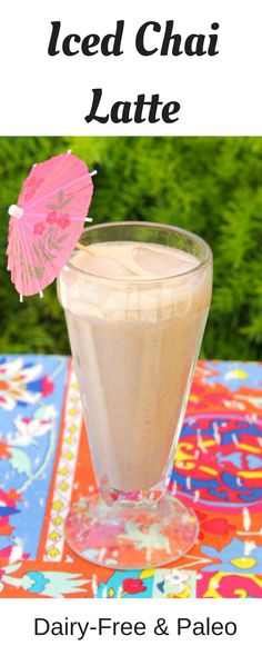 This vegan & paleo Iced Chai Latte is super refreshing and full of flavorful spices. It is low-sugar and really yummy on a hot summer day!