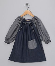 "{Gray & Denim Blue Peasant Dress} I love the simplicity of this... my ""all pink"" daughter would die, but I think it is adorable."