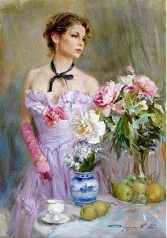 Woman w/ flowers. ? Artist. Anyone know???