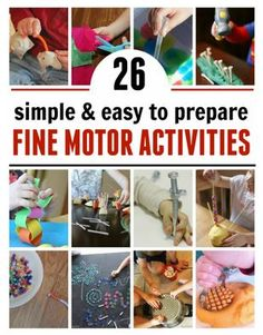 Collection of the Week: Low Prep Fine Motor Activities-pinned by @PediaStaff – Please Visit ht.ly/63sNtfor all our pediatric therapy pins