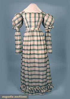 Silk Plaid Day Dress c.1830  Augusta Auctions, April 2006 Vintage Clothing & Textile Auction, Lot 773: