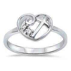 Swirl Heart Cross Ring Solid 925 Sterling Silver Round Clear Crystal Diamond White CZ Heart Cross Ring Size 2-10 by BlueAppleJewelry on Etsy https://www.etsy.com/listing/220038175/swirl-heart-cross-ring-solid-925