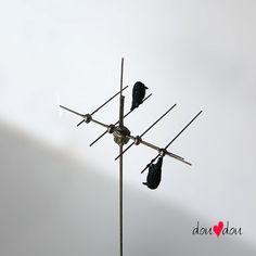 Ravens on Antenna - Wire Sculpture