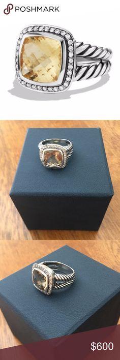 David Yurman Albion Ring w/ Diamonds Sterling silver Gemstone, 14 x 14mm Pavé diamonds, 0.34 total carat weight Ring, 5-20mm wide Split-shank David Yurman Jewelry Rings