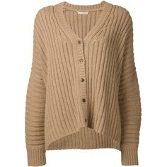 MICHAEL KORS ribbed wide cardigan (1 990 AUD) ❤ liked on Polyvore featuring tops, cardigans, sweaters, outerwear, jackets, michael kors cardigan, long sleeve v neck top, ribbed top, v neck cardigan and beige top