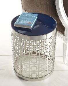 Jonathan Adler Nixon Side Table.  Love the metal and the glossy blue top.
