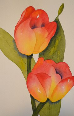 #Art, Fine Art-#Watercolor Painting of #Red and #Yellow #Tulips #handmade…