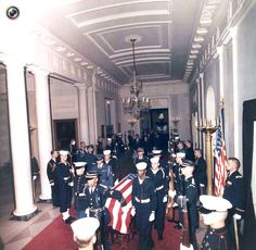 image shows pallbearers carrying the casket of former U.S. President Kennedy at the White House in Washington(The state funeral of John F. Kennedy, 35th President of the United States, took place in Washington, D.C. during the three days that followed his assassination on Friday, November 22, 1963, in Dallas, Texas)  RIP ♡❀♡RIP Date November 25, 1963 http://en.wikipedia.org/wiki/State_funeral_of_John_F._Kennedy