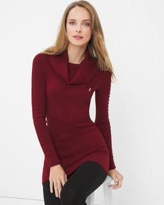 """Put a boho spin on your winter wardrobe in our comfy sweater with lace-up detailing. Balance its free-spirited, boho energy with downtown denim, boasting strategic distressing.   Lace up-sleeve tunic in luscious red  Viscose/nylon. Machine wash.   Approx. 30 1/2"""" from shoulder  Imported"""